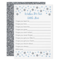 Baby Blue Twinkle Star Wishes For Baby Card