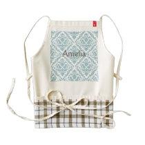 baby blue,vintage damasks,victorian,floral,pattern zazzle HEART apron