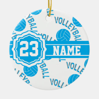 Baby Blue Volleyball Christmas Tree Ornaments