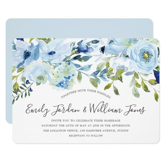 Baby Blue Watercolor Flowers Winter Wedding Invitation