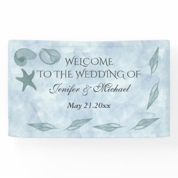 Beach Themed Baby blue watercolor sea shells beach wedding banner
