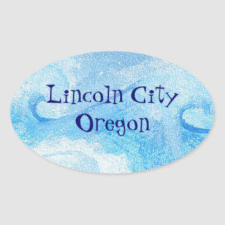 Baby Blue Waves Oval Sticker