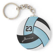 Baby Blue, White and Black Volleyball - Customize Keychain