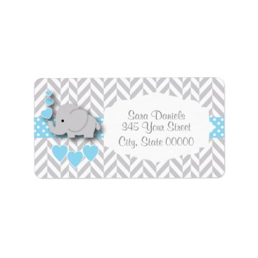 Toddler & Baby themed Baby Blue, White and Gray Elephant Baby Shower Label