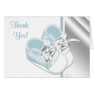 Baby Blue White Baby Shoes Thank You Cards