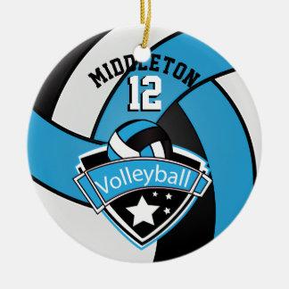 Baby Blue, White & Black Personalize Volleyball Ceramic Ornament