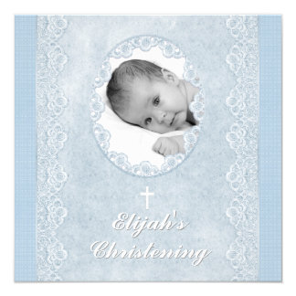 "Baby Blue White Boy Photo Baptism Christening 5.25"" Square Invitation Card"