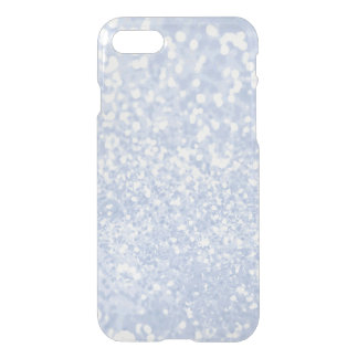 Baby blue white elegant faux glitter pattern iPhone 8/7 case
