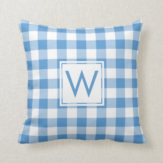 Baby Blue White Gingham Pattern, Custom Monogram Throw Pillow