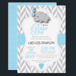 "Baby Blue, White Gray Elephant Baby Shower Card<br><div class=""desc"">***** 5 Star Review ***** Baby Shower Invitation. Featuring a gray chevron pattern with baby blue and white polka dots and a cute adorable cartoon baby boy elephant. Impress your guest with this darling invitation. Lots of Matching products and four more colors (pink, yellow, lavender, and mint green) are available....</div>"