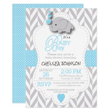 DesignsbyDonnaSiggy Baby Blue, White Gray Elephant Baby Shower Card