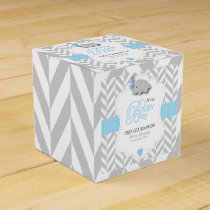 Baby Blue, White Gray Elephant Baby Shower Favor Box