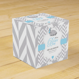 baby blue white gray elephant baby shower favor box