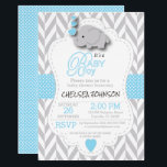"Baby Blue, White Gray Elephant Baby Shower Invitation<br><div class=""desc"">***** 5 Star Review ***** Baby Shower Invitation. Featuring a gray chevron pattern with baby blue and white polka dots and a cute adorable cartoon baby boy elephant. Impress your guest with this darling invitation. Lots of Matching products and four more colors (pink, yellow, lavender, and mint green) are available....</div>"