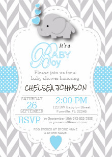 Baby shower invitations zazzle baby blue white gray elephant baby shower invitation filmwisefo
