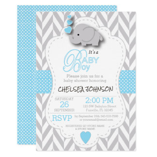 Baby Blue, White Gray Elephant Baby Shower Invitation