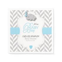 Baby Blue, White Gray Elephant Baby Shower Paper Napkin