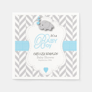 Baby Blue, White Gray Elephant Baby Shower Paper Napkin