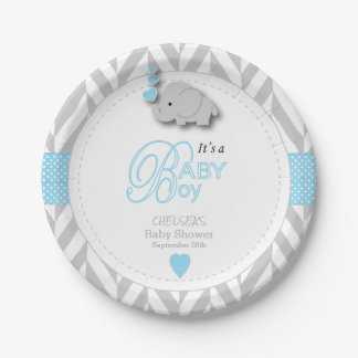 Baby Blue, White Gray Elephant Baby Shower Paper Plate