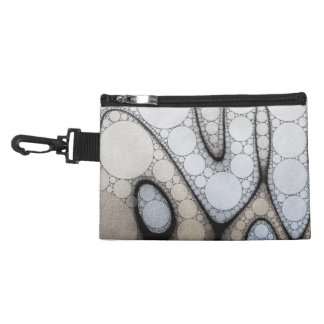 Baby Blue White Grey Circle Pattern Accessory Bag