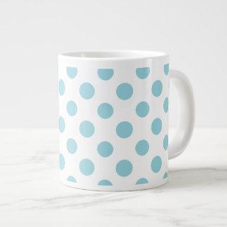 Baby Blue White Polka Dots Pattern Large Coffee Mug