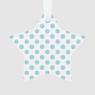 Baby Blue White Polka Dots Pattern Ornament