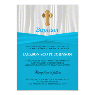 Baby Blue & White Satin Baptism / Christening Card