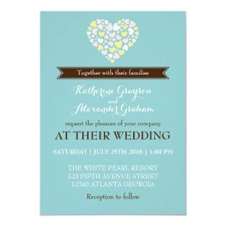 Baby Blue White Small Hearts Wedding Invitation