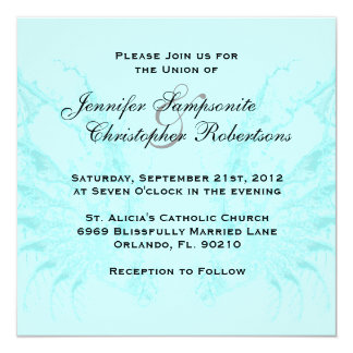 Baby Blue Wings Elegant Wedding Invitations