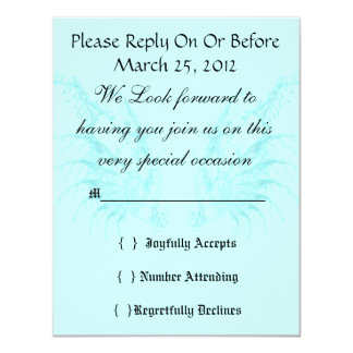 Baby Blue Wings Elegant Wedding RSVP 4.25x5.5 Paper Invitation Card