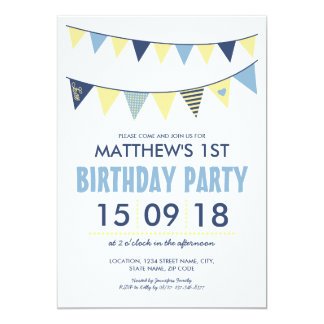 BABY BLUE YELLOW COUNTRY BUNTING BIRTHDAY CARD