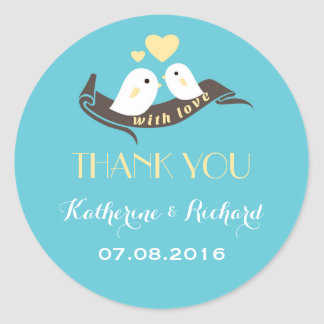 Baby Blue Yellow Love Birds Wedding Favor Sticker