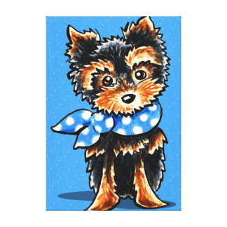 Baby Blue Yorkie Ink Pencil Drawing Canvas Print