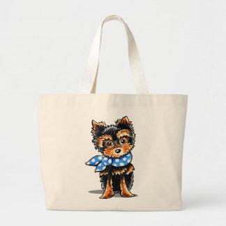 Baby Blue Yorkie Large Tote Bag