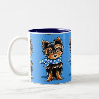 Baby Blue Yorkie Polka Dot Scarf Two-Tone Coffee Mug