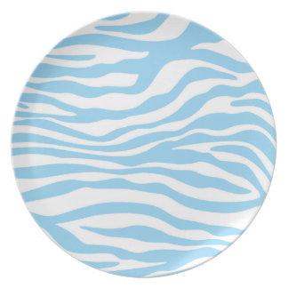 Baby Blue Zebra Animal Print Dinner Plate