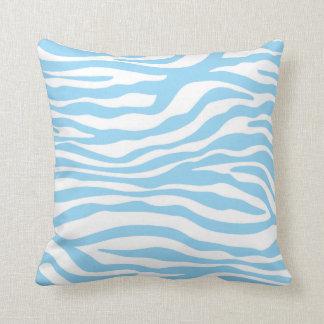 Baby Blue Zebra Animal Print Throw Pillows