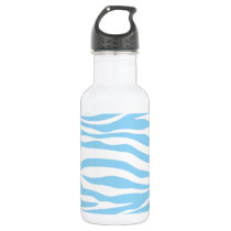Baby Blue Zebra Animal Print Water Bottle