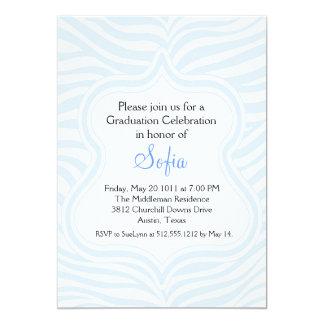 Baby Blue Zebra Graduation Invitation Custom Color