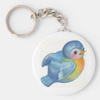 Baby Bluebird Retro design Vintage style Basic Round Button Keychain
