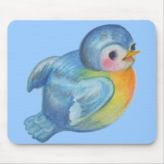 Baby Bluebird Retro design Vintage style Mouse Pad