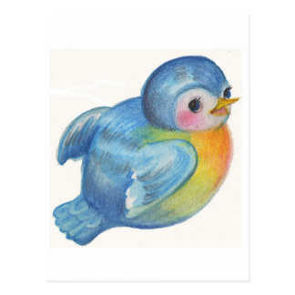 Baby Bluebird Retro design Vintage style Postcard