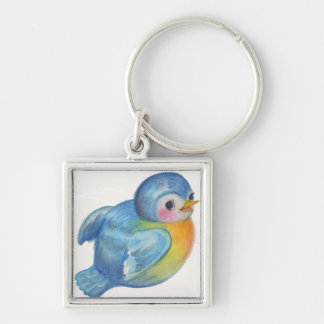 Baby Bluebird Retro design Vintage style Silver-Colored Square Keychain