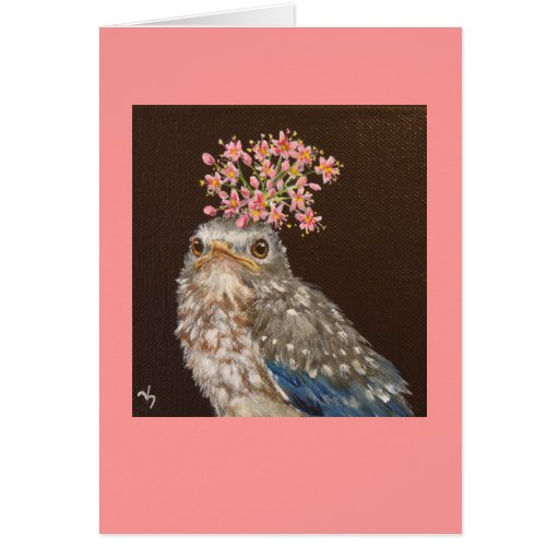 baby bluebird with wild onion card