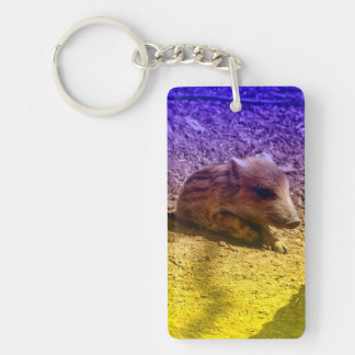 baby boar, blue Single-Sided rectangular acrylic keychain