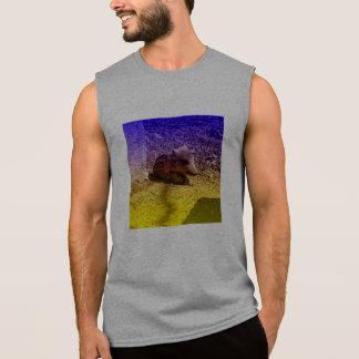 baby boar, blue sleeveless shirts