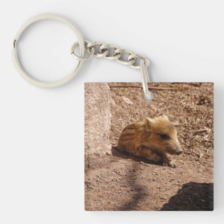 baby boar Double-Sided square acrylic keychain