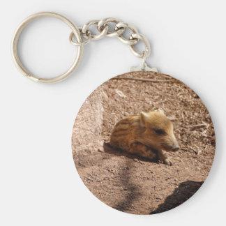 baby boar basic round button keychain