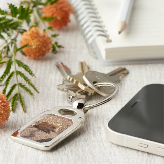 baby boar Silver-Colored rectangular metal keychain
