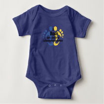 "Baby body suit ""I rock an extra chromosome"" Baby Bodysuit"
